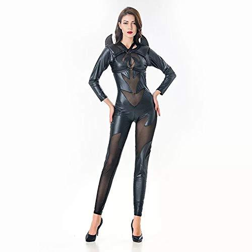 FHSIANN Donne Adulte Halloween Costume da Demone Sexy del Diavolo 1PC Catsuit Piccante Clubwear Nero Fancyy PVC Maglia Hollow Tuta Completo per Donna