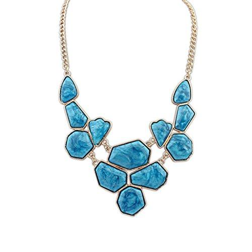 Aooaz Collane donna Boemia Collane statement Vintage amore Lungo Collane girocollo Multi forma SColore catena blu