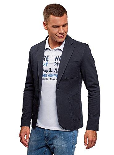 oodji Ultra Herren Taillierter Blazer mit Seitentaschen, Blau, DE 50 / M