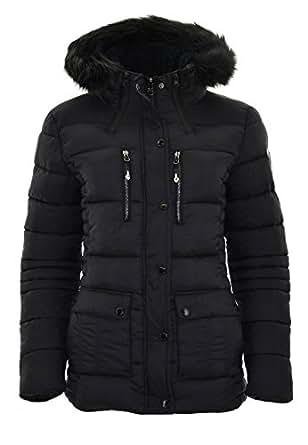 GEOGRAPHICAL NORWAY Damen Winterjacke Steppjacke Jacke Kapuze warm Parka schwarz Grösse M
