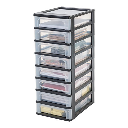 Iris Organizer Chest OCH-2080 Schubladencontainer-/ schrank, Kunststoff, schwarz / transparent, 35,5 x 26 x 65,5 cm
