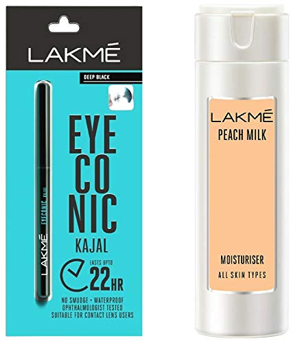 Lakme Eyeconic Kajal, Deep Black, 0.35g & Lakme Peach Milk Moisturizer Body Lotion, 200 ml