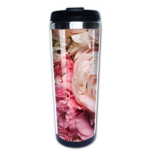 QIUJUAN Peony Pink Fashion Travel Mug 400 Ml Portable Coffee Travel Mug For Men Women Stainless Steel Tumbler Cup (Keurig Portable)