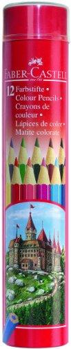 Faber-Castell 115826 – Set de 12 lápices de colores en bote metálico redondo