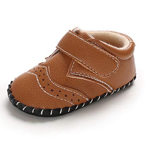 Dasongff Premium Leder Babyschuhe für Jungen und Mädchen Rutschfeste Erste Wanderschuhe Klassische Kleinkind Schuhe Babys und Kleinkinder Kinderschuhe (EU Größen 19 - 22)