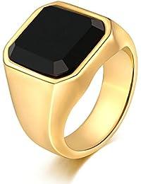 Aooaz Gioielli anello fascia anello acciaio uomo anticato finitura Superficie quadrata anello gotico anelli fidanzamento anello biker