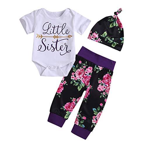 3 stücke Baby Kid Sister Familie Kleidung Kurzarm T-Shirt/Strampler + Floral Pants + Hut/Stirnband Für Große Schwester Und Kleine Schwester (Color : Little, Size : 18-24M) (23-haar-erweiterungen)