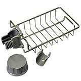 Grifo de acero inoxidable que cuelga el soporte de almacenamiento. Ajustable Caddy Organizador Jabón Cepillo para lavar platos Lechero Almacenamiento