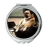 Yanteng Spiegel, Schminkspiegel, Chihuahua Hund toller Hund, Taschenspiegel, 1 X 2X Vergrößerung