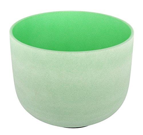Kristall Klangschale Farbe Grün satiniert Note F 432Hz Herz Chakra 25,4cm besten und Qualität Sound & Material Wildleder Grün Schlägel inklusive