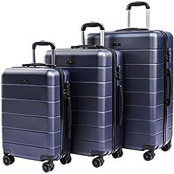 CarryOne Set de 3 Valises Coquille Légère Bagage avec 4 Doubles à roulettes Silencieuses   Combinaison de Serrure   Valise de Mode 19TC1-Bleu(55cm,66cm,76cm)