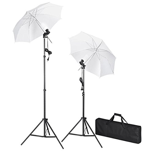 Amzdeal Kit de Paraguas Kit de iluminación para estudio fotográfico, 2x 47W Bombillas, 2x Trípodes de Lámpara, 2x Paraguas Translucidas, Enchufe de EU
