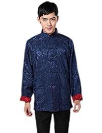 JTC Mens Classic Tai Chi Top Kung Fu Jacket Chinese Shirt Navy&Red