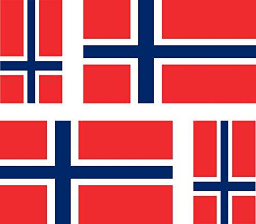 Akachafactory 4 x Aufkleber Sticker Auto, Motorrad, Koffer pc norvegie Flagge Norwegen Norwegen-pc