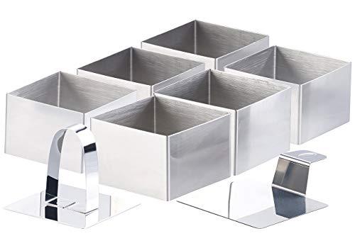 Rosenstein & Söhne Edelstahl-Dessertringe: 6 Dessert-/Speiseringe 7,5 x 7,5 x 5 cm, eckig, mit Heber & Stampfer (Dessertring-Sets)