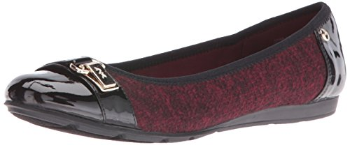 Anne Klein AK Sport Women's Able Fabric Ballet Flat, Red/Black, 6 M US (Ballet Red Flat)