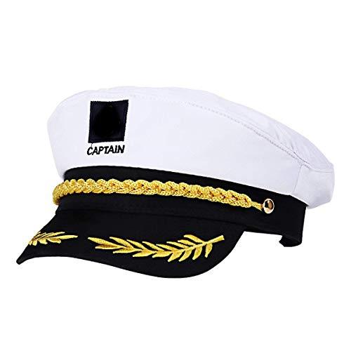WENTS Kapitänsmütze Marine Mütze für Erwachsene Kinder Kostüm Zubehör (Weiß) (Captain Kostüm Kinder)