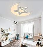Style home 60W LED Deckenlampe ultra-dünn Deckenleuchte Kinderlampe ''Mond mit Stern'' dimmbar