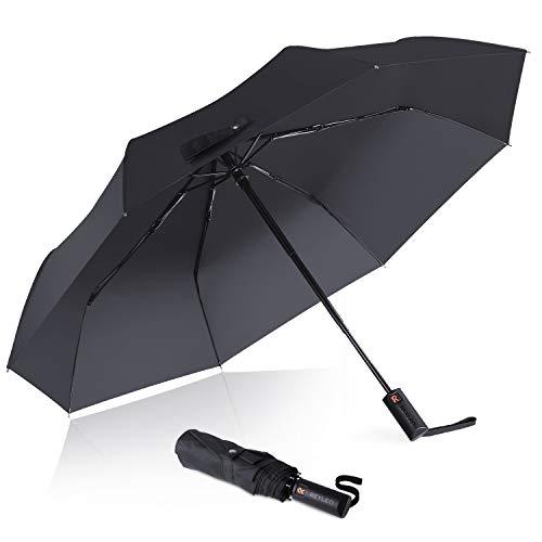 REYLEO Regenschirm, windfest 130 km/h, WU01A Taschenschirm Voll-automatischer 8 Ribs, leicht & kompakt – windsicher & stabil (320g, 98cm)