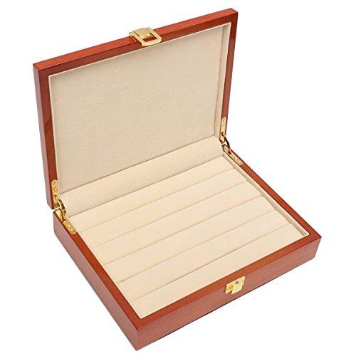KUNSE Vintage Große Holzring Ohrring Schmuck Display Box Case Speicher Organisator 24X18X 5.5 cm -