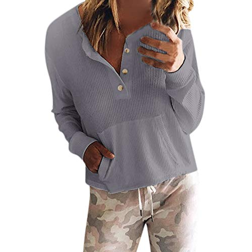 NPRADLA 2018 Herbst Winter Damen Bluse Langarm Elegant Frauen T-Shirt Top O Ausschnitt Einfarbig Mit Taste(Grau,M/EU Gr.42) -