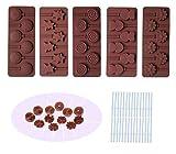 BAKER DEPOT Stampo di Lollipop di cioccolato in silicone con 6 fori, doppio cuore, stella, piccolo fiore, faccia sorriso, rotondo, ecc, disegno, set di 5