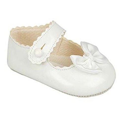 Iv-weiß Schuhe (BNIB Baby Mädchen baypod Erste Kinderwagen Schuhe in pink-rot oder weiß 4Größen, Weiß - weiße Lacklederoptik - Größe: 36 EU (12-18 Monate))