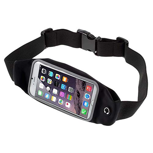 DFVmobile - Case Belt Bag Reflective with Touch Screen for Running Walking Hiking Jogging Waist Pack Waterproof Fanny Pack Pouch kompatibel mit Alcatel One Touch POP S3 OT-5050S - Black