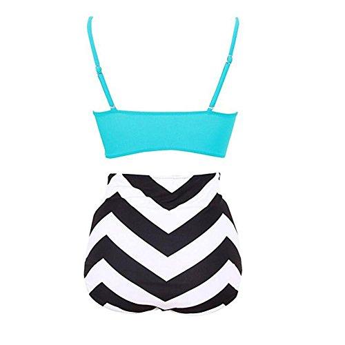 FrauenWeinlesehoher TaillenBlumenbikiniSatzStrappy Drucken Herauf  BadeanzugBadebekleidung white blue