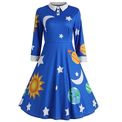 Kiss Rock Star Kostüm - TIZUPI Halloween Kleid Damen Fashion Vintage Kleid Sun and Moon Star Flare Button Herbst Winter Kleid Langarm Revers A Line Abendkleid Rockabilly Kleider(Blau,XL