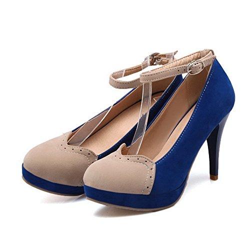 AgooLar Femme Suédé à Talon Haut Rond Couleurs Mélangées Boucle Chaussures Légeres Bleu
