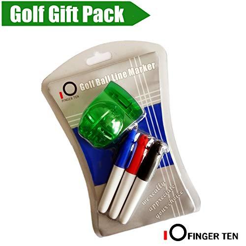 Finger Ten Golf Ball Marker Line Zeichenwerkzeug Schild Mark Werkzeug mit 3Farbe Stifte Vorlage rutschsicher Putt Ausrichtung, grün -