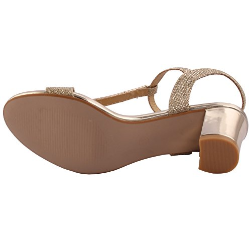 Unze Femmes 'Orlo' Glittery Strappy Faible Mid-Block Talon Party Prom Get Together Brunch Carnaval Soirée Sandales Talons Chaussures Uk Taille 3-8 Or