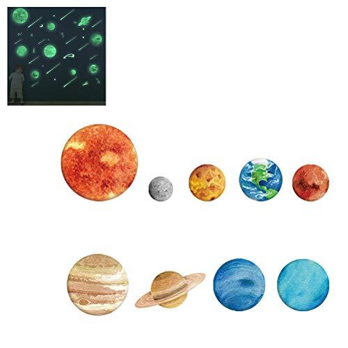 Xeples Leuchtende Wandaufkleber, Weltraum 3D kühle leuchtende Kugel Sterne Hintergrund neun Planeten DIY Dekoration für Zuhause Kinderzimmer 10pcs