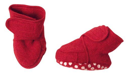 Disana Chaussons antidérapants en laine biologique bouillie rouge