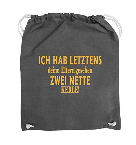 Comedy Bags - Ich hab letztens deine Eltern gesehen zwei nette Kerle! - Turnbeutel - 37x46cm - Farbe: Schwarz / Silber Dunkelgrau / Gelb