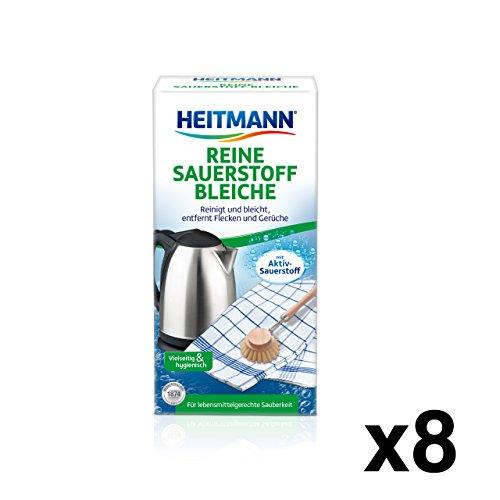 Heitmann Reine Sauerstoff-Bleiche: für hygienische Sauberkeit im Haushalt, hohe Waschkraft mit Soda und Sauerstoff, bleicht und entfernt zuverlässig Flecken von Oberflächen und aus Textilien, 8 x 375g