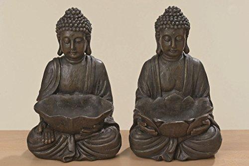 2 x Fernöstliche Buddha Figuren mit Schale Skulptur Kunstharz 30cm Gartenfigur Geschenk