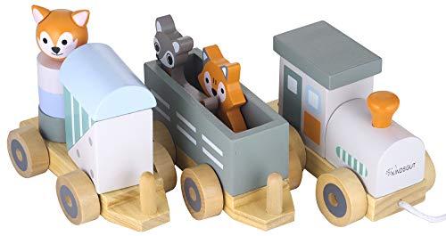 Jouet en Bois b/éb/é Kindsgut Petit Train en Bois et Cubes de Construction Les Animaux du Zoo Rayures
