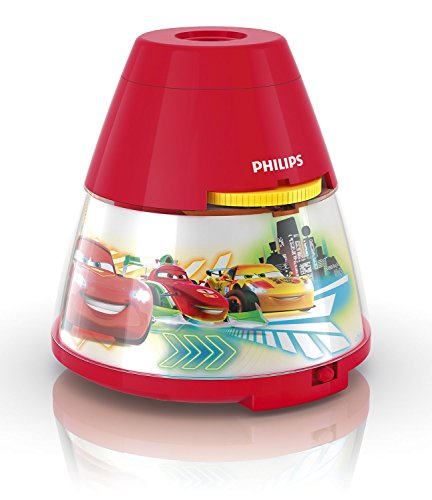 Philips e Disney Lampada da Tavolo Cars, Proiettore LED, Rosso