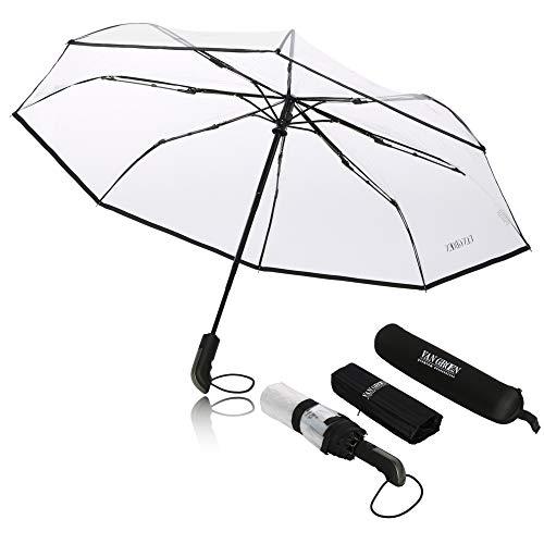 Regenschirm Taschenschirm - VAN GROEN - transparent - sturmfest bis 120 km/h - inkl. Schirm-Tasche & Reise-Etui - Auf-Zu-Automatik, klein, leicht & kompakt, windsicher, stabil (schwarz)
