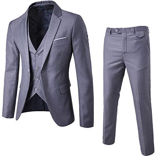 Wenyujh Herren Männer Sakko Blazer Freizeit Casual Anzug Slim Fit Einfarbig (52/Herstellergröße 4XL, 4#Grau)