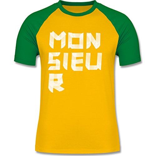 Statement Shirts - Monsieur Klebestreifen - zweifarbiges Baseballshirt für Männer Gelb/Grün