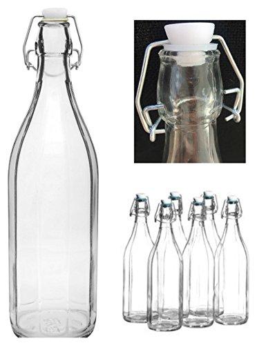 22pezzi swing Top Bottiglia 1L Bottiglia con tappo stile classico in vetro trasparente qualità Swing Bottiglia di vetro da htuk®