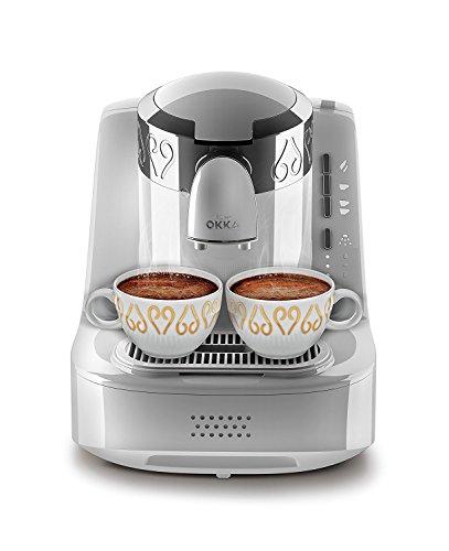 Arzum-Okka Hochwertige Türkische Mokka Maschine Kaffemaschine Modern Weiß Silber, Farbe:Weiß