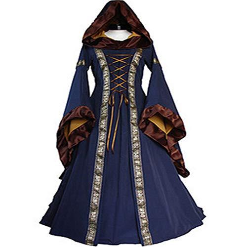 Vintage Gruselig Kostüm - KLJJQAQ Halloween Vintage Kleid Mittelalterlichen Kostüm Vintage Ausgestellte Ärmel Halloween Gothic Prinzessin Kleid Für Cosplay Party,Blue,XXL