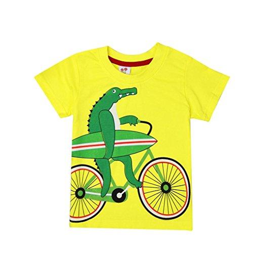 Zolimx Ropa de Bebé Niño Niñas Camisetas de Manga Corta Blusa de Camiseta de Impresión de Dibujos Animados Tractor (Azul, 3 Años)