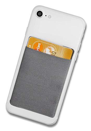 Cardsock - Wiederverwendbarer Handy Kartenhalter, Kartenfach - RFID Blocking Smartphone Wallet für Kreditkarten & Bargeld in grau