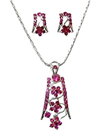 DollsofIndia Magenta Stone Studded Pendant And Earrings - Chain Length - 16 Inches, Pendant - 2.2 Inches, Earrings...