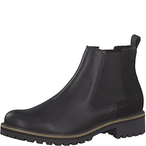 Tamaris Damen Chelsea Boots 25457-21,Frauen Stiefel,Halbstiefel,Stiefelette,Bootie,Schlupfstiefel,hoch,Blockabsatz 3cm,Black Comb,EU 39